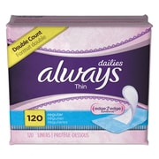 Always® Dailies Thin Liners, Regular, 120/Pack (10796PK)