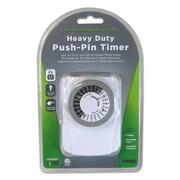 PRIME® Heavy Duty Push-Pin Timer, 3-Prong, White, Each (TNI2423)