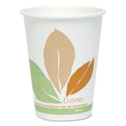 SOLO® Cup Company Bare® Eco-Forward® PLA Paper Hot Cups, 12 oz, White/Green/Orange, Double-Sided PLA-Lined Paper, 50/Pack
