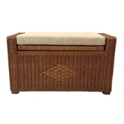 RattanWickerHomeFurniture Adam Rattan Wicker Storage Trunk; Light Brown