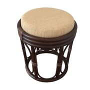 RattanWickerHomeFurniture Romeo Rattan Ottoman; Dark Brown