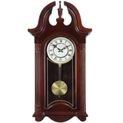 "Bedford Analog 26 1/2"" Mahogany Cherry Oak Colonial Chiming Wall Clock (BED-1915)"