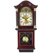 "Bedford Analog 26"" Mahogany Cherry Oak Antique Chiming Wall Clock (BED-7071)"
