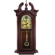 "Bedford Analog 38"" Cherry Oak Grand Antique Colonial Chiming Wall Clock (BED-7710)"