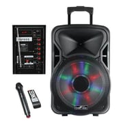 "BeFree Sound BFS-5800 15"" Bluetooth Rechargeable Party Speaker with Illuminating Lights, Black"