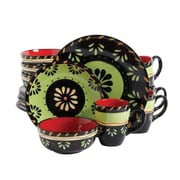 Gibson Simplemente Delicioso Escolta Stoneware 16 Piece Dinnerware Set, Green/Red/Black, 92500.16R