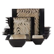 Gibson Elite Marbe Reactive Stoneware Geometric Wave Double Bowl 16 Piece Dinnerware Set, Taupe/Black, 92677.16