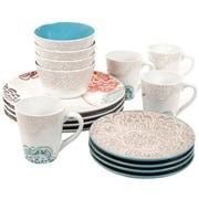Elama® Traditional Blue Rose 16 Piece Stoneware Dinnerware Set (94396924M)