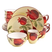 Gibson Home Fruitful Ceramic Harvest Pomegranate 16 Piece Dinnerware Set, 97978.16R