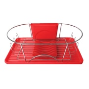 "Mega Chef 17"" Dish Rack, Red/Silver (92596409M)"