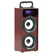 QFX® BT-137 Portable Multimedia Bluetooth Speaker with FM Radio, Brown