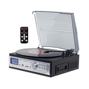 Techplay 3-Speed Turntable/Cassette Player with SD USB, Black on Silver (ODC19 BK)
