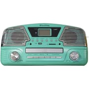 Techplay 3-Speed Turntable with Programmable MP3/CD Player, Turquoise (ODC35-TR)