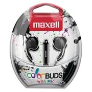 Maxell® Colorbuds Outer-Ear Earbud with Mic, Black (CBM-BLK)