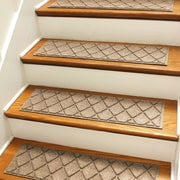 Bungalow Flooring Aqua Shield Camel Argyle Stair Tread (Set of 4)