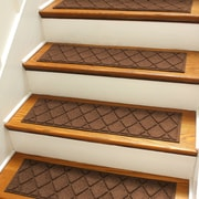 Bungalow Flooring Aqua Shield Dark Brown Argyle Stair Tread (Set of 4)