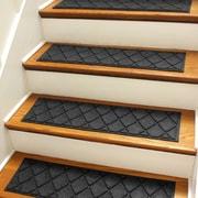 Bungalow Flooring Aqua Shield Charcoal Argyle Stair Tread (Set of 4)