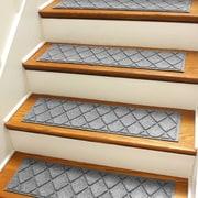 Bungalow Flooring Aqua Shield Medium Gray Argyle Stair Tread (Set of 4)