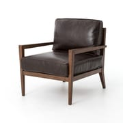 Design Tree Home Elouise Leather Laurent Wood Arm Chair
