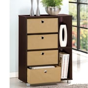 Wildon Home   4 Drawer Multi-Purpose Storage Cabinet; Espresso/Brown Bins
