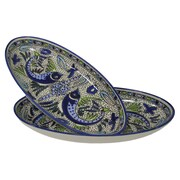 Le Souk Ceramique Aqua Fish Stoneware Oval Platter (Set of 2)