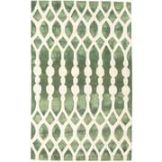 ECARPETGALLERY Dip Dyed Hand-Tufted Cream/Dark Green Area Rug