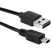 QVS® CC2215R-06 6' USB 2.0 Type A to Mini Type B Male/Male Data Transfer Cable, Black