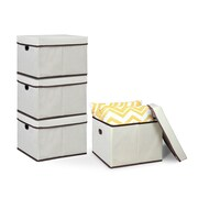 Furinno Non-Woven Fabric Heavy-Duty Storage Organizer (Set of 4); Ivory