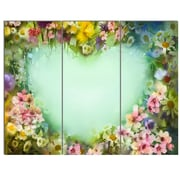 DesignArt 'Vintage Flowers w/ Heart Shape' 3 Piece Painting Print on Canvas Set