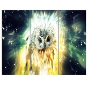 DesignArt 'Owl Over Colorful Abstract Image' 3 Piece Graphic Art on Canvas Set
