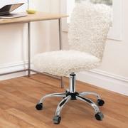 Urban Shop Mid-Back Desk Chair; White Sherpa