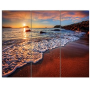 DesignArt 'Stunning Ocean Beach at Sunset' 3 Piece Photographic Print on Canvas Set