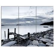 DesignArt 'Small Sea Bridge from Rocky Beach' 3 Piece Photographic Print on Canvas Set