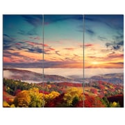 DesignArt 'Colorful Sunset in Foggy Mountains' 3 Piece Photographic Print on Canvas Set