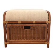 RattanWickerHomeFurniture Jerry Rattan Wicker Storage Ottoman; Light Brown
