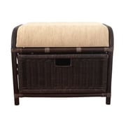 RattanWickerHomeFurniture Jerry Rattan Wicker Storage Ottoman; Dark Brown