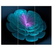 DesignArt 'Abstract Blue Floral Fractal Background' 3 Piece Graphic Art on Canvas Set