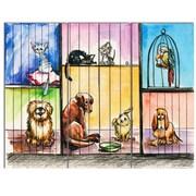 DesignArt 'Sad Animals in the Pound' 3 Piece Painting Print on Canvas Set
