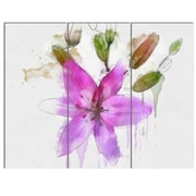 DesignArt 'Beautiful Purple Floral Illustration' 3 Piece Painting Print on Canvas Set