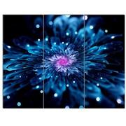 DesignArt 'Blue Fractal Flower w/ Shiny Particles' 3 Piece Graphic Art on Canvas Set