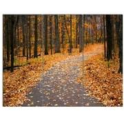 DesignArt 'Autumn Walk Way w/ Fallen Leaves' 3 Piece Photographic Print on Canvas Set