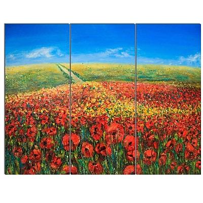 DesignArt 'Acrylic Landscape w/ Red Flowers' 3 Piece Painting Print on Canvas Set WYF078279879787