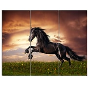 DesignArt 'Black Friesian Horse Gallop' 3 Piece Photographic Print on Canvas Set