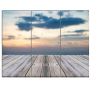DesignArt 'Wooden Board at Sunset Seashore' 3 Piece Photographic Print on Canvas Set