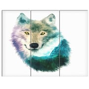 DesignArt 'Wolf Head Double Exposure Drawing' 3 Piece Painting Print on Canvas Set