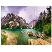 DesignArt 'Mountain Lake Between Mountains' 3 Piece Photographic Print on Canvas Set