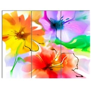 DesignArt 'Bunch of Colorful Flowers Sketch' 3 Piece Painting Print on Canvas Set