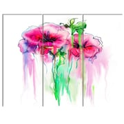 DesignArt 'Colorful Hand Drawn Red Flowers' 3 Piece Graphic Art on Canvas Set