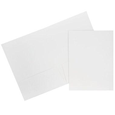 JAM Paper® Two Pocket Presentation Folders, White Linen, 100/pack (95448B)