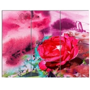 DesignArt 'Red Rose on Abstract Paper' 3 Piece Painting Print on Canvas Set